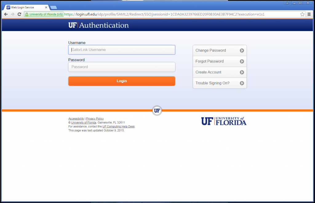 Step 1 - login to myUFL