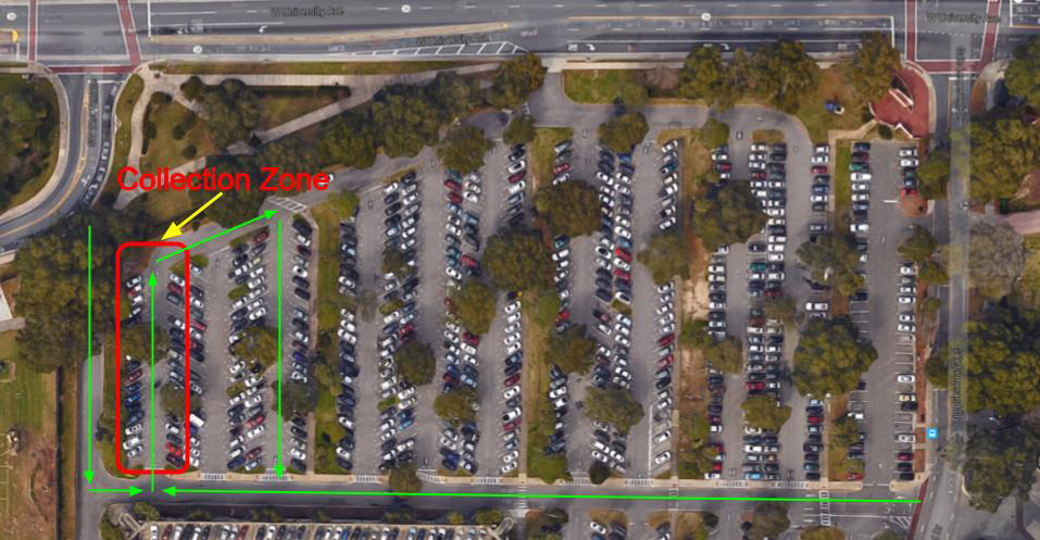 Map of drop-off location and traffic pattern for Collection Day (NW corner of the O'Connell Center parking lot, near the 2nd Avenue entrance)