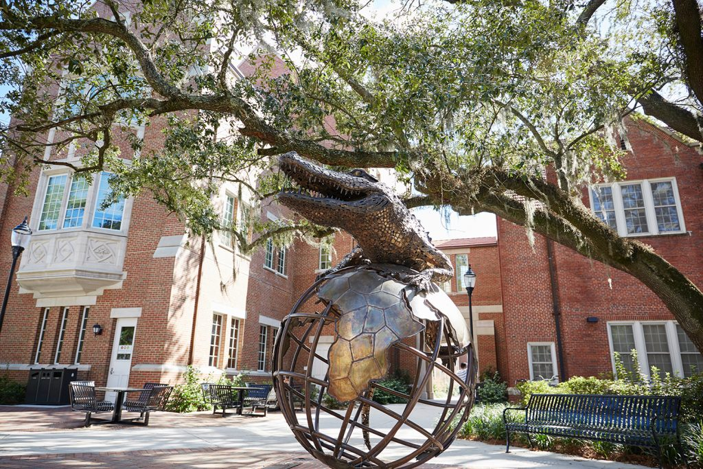 UF sculpture, Gator on Top of the World, located at Warrington College of Business