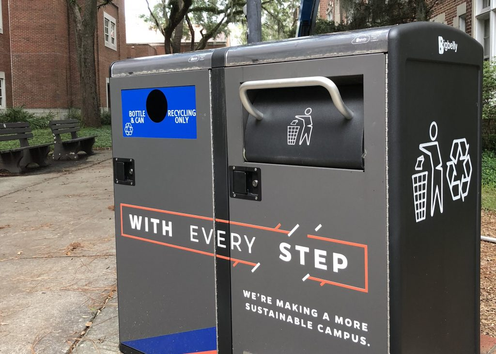 Recycling and waste bins on UF campus