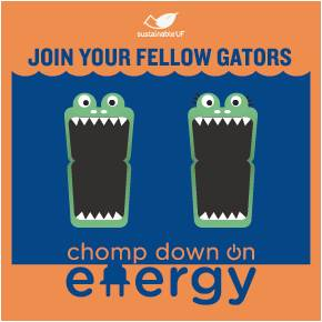 """Sustainable UF stickers for """"Chomp Down on Energy"""" light switches"""