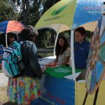 Students approaching the Sustainable UF Hut